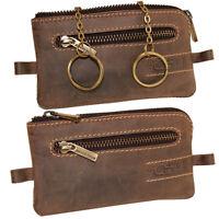 Vintage Leder Schlüsseltasche Schlüsselanhänger Tasche Etui Damen Herren braun