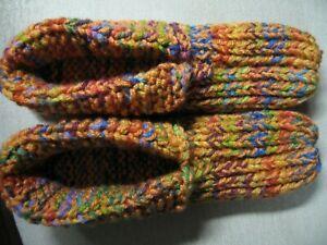 """Hand Knit House Slippers w/Cuffs Desert Glaze Mix Mens Sm/Med Wms Med/Lg 9 1/4"""""""