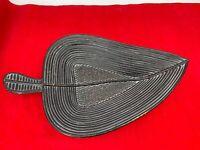 "Basket Wicker Rattan Woven Leaf Shape Wall Display Tray Bowl 19"" By 11"""