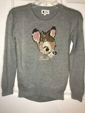 Girls Gap Disney Size XL Gray Bambi Long Sleeve Sweater