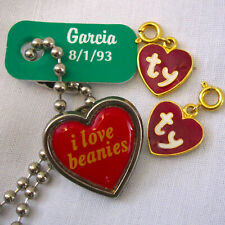 Lot of Beanie Baby Accessories: 2 Ty Heart Charm, I Love Beanies Pin, Garcia Tag