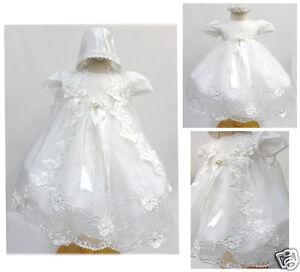 New Infant Girl & Toddler Christening Baptism Formal Dress size New Born to 30 M