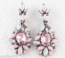 "Hot New Design Lady Multi Crystal Bling Rainbow Drop/Dangle Earring 2 1/4"" E161"