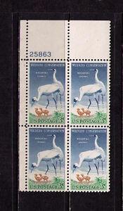 US USA Sc# 1098 MNH FVF PLATE # BLOCK Wildlife Whooping Cranes Chicks Birds