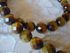 """(v310-C) 23"""" long faceted tan Brown tiger eye gemstone beaded Necklace JEWELRY"""
