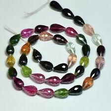 Pink Green Blue Tourmaline Faceted Teardrop Beads
