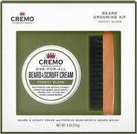 Cremo Beard Grooming Kit: Forest Blend Beard & Scruff Cream and Beard Brush