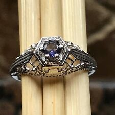 Natural Iolite { Water Sapphire } 925 Solid Sterling Silver Filigree Ring sz 6