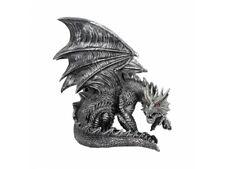 Nemesis Obsidian Silver Metallic Dragon Figurine Fantasy Ornament Decor Statue