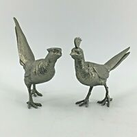 Vintage Pair of Cast Metal Asian Style Birds Sculpture Statue Figurine Pheasant