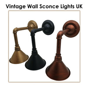 Retro Industrial Water Pipe Style Walls cone Lamp Vintage Light UK
