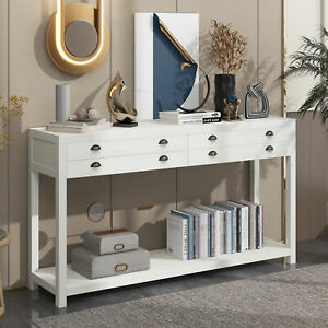 Retro Style Wooden Console Table with Two Big Top Drawers+Large Storage Space
