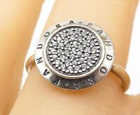 PANDORA 925 Silver - Cubic Zirconia Smooth Band Statement Ring Sz 7 - R8905