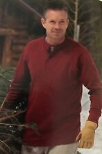 L L Bean L Two-Layer Cotton-Wool Henley River Driver's Shirt Deep Red Heather