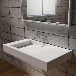 Stone Mineralguss Aufsatzwaschbecken Handwaschbecken Wandwaschbecken Cremeweiß V