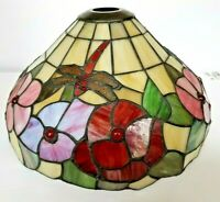 """14"""" VINTAGE TIFFANY STYLE STAINED GLASS  LAMP SHADE"""