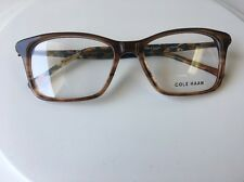 NEW NWT CH 1035 Cole Haan Eyeglasses 51 mm Eye Size Brown Horn Frame Square