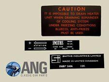 Mg Midget, AH Sprite Smiths Ventilador Calentador de caja y calcomanías, Etiquetas x 3 (LMG1010)
