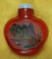 Two Sided Cock Scene Reverse Painted Red Amber Peking Glass Chinese Snuff Bottle