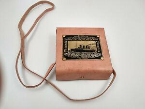 Boussole compas Titanic hystory laiton antique avec étui cuir et plaque laiton