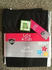 Bnwt Girls Back To School Black Water Repellent Trousers Age 10-11 Years New