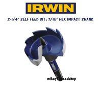 """IRWIN 2 1/4"""" Self Feed Drill Bit wood bit 2-1/4 inch WeldTec drilling feeding"""