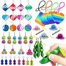 Mini Push Pop it Bubble Simple Dimple Fidget Toy Stress Relief Toys Keychain