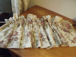 """WAVERLY BLOUSON VALANCE tan / mauve cabbage roses / mossy green 78wX17"""""""