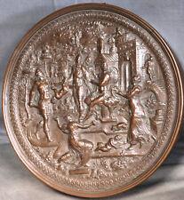 Renaissance Bronze 3 Quill Inkwell Sculpture Massacre Innocents Blown Glass OLD