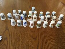 Bundle of 27 thimbles various assorted designs and brands