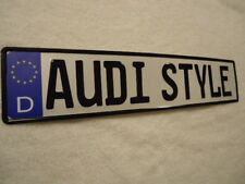 """European Style License Plate """"AUDI STYLE"""" EMBOSSED TEXT w/ German Designations"""