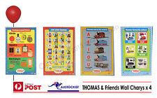 THOMAS & FRIENDS 4 Huge Wall charts 75x52cm BNIB Colours-ABC-Vowels-Shapes Kids