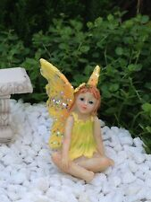 Miniature Dollhouse Fairy Garden Accessories ~ Sitting Girl Yellow Glitter Wings
