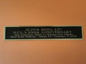 Super Bowl LIV 49ers & Chiefs Nameplate For A Football Case Or Program 1.5 X 8