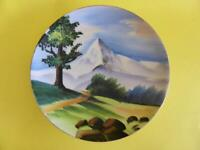 Vintage Hand Painted Wall Hanging Display Plate, Mountain Landscape