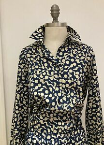 Vintage 1970s/1980s Navy/Cream Jaeger Blouse, Tie & Skirt Set, Size 16 UK