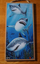 GREAT WHITE SHARK Nautical Swimming Beach Ocean Tropical Home Decor Sign NEW