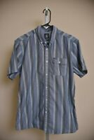 Volcom Modern Fit Blue Striped Short Sleeve Button Up Shirt Men's size L large