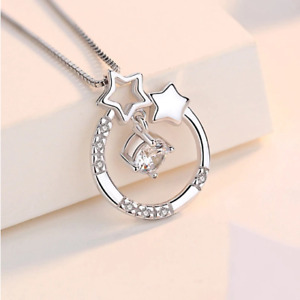 Authentic 925 Sterling Silver Dancing Zirconia Geo Star Pendant Necklace
