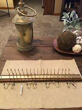 Vintage Wood&Brass Tie/Belt Rack 36 Tie Hooks-Holds 16 Belts Org. Screws-Taiwan