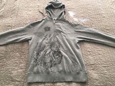 APX Size Small Grey Zipper Hoodie Jacket w/Distressed Angel Soul Truth Armor