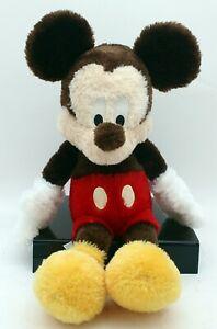 "Disney Parks Mickey Mouse Plush 15"" Pile Vintage Long Pile Brown"