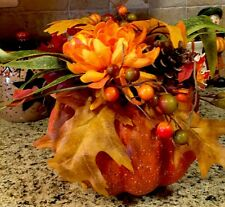 """Large Pumpkin Fall Autumn Harvest Floral Arrangement Floral Decor Centerpiece 8"""""""