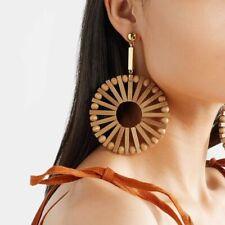 Wooden Long Big Round Earring Ethnic Fashion Handmade Vintage Geometric Bamboo