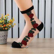 Crystal Lace Transparent Women's Short Socks Rose Pattern Elastic Beautiful