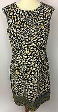I LE ILE New York Multi-Color Leopard Animal Print Sleeveless Shift Dress Sz 12