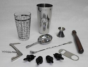 12pc BOSTON SHAKER BAR KIT Tin Glass Spoon Jigger Muddler Strainer Opener Pourer