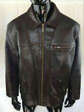 Vintage BEN SHERMAN Dark Brown Real Leather Jacket - Size Large - Good Condition