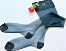 Vintage Hanes Jet Blue White Line Sheer Flat Knit Nylon Rht Stockings 9.5/30