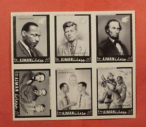 IMPERF PRINTERS PROOF AJMAN JFK HUMAN RIGHTS BLOCK MNH *6 KNOWN * EX LEO MALZ